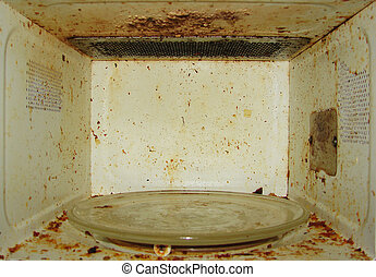 Microwave - Dirty microwave With burnt paint on the walls...
