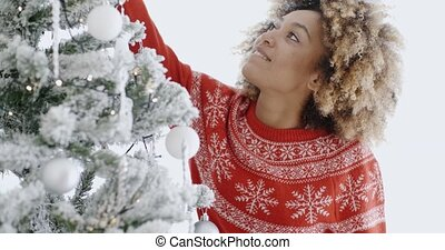Happy trendy African girl at Christmas - Happy trendy...