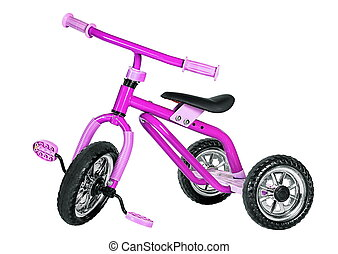 Kids pink tricycle isolated on white background