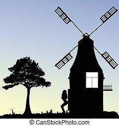girl front of windmill vector silhouette