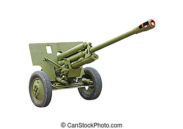 The 76-mm Russian division cannon gun from WWII.Isolated. -...