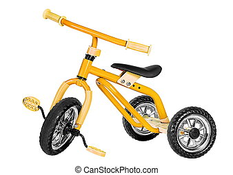 Kids yellow tricycle isolated on white background