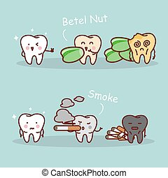 tooth betel nut and smoke - cartoon black or yellow tooth...
