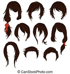 Hair styling for woman drawing Brown Set 1. illustration...