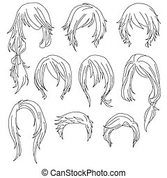Hair styling for woman drawing Set 1