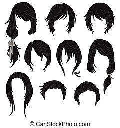 Hair styling for woman drawing Black Set 1 illustration...