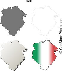 Biella blank detailed outline map set - Biella province...