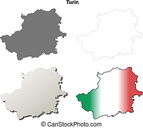 Turin blank detailed outline map set - Turin province blank...