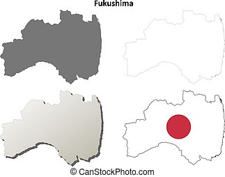 Fukushima blank outline map set - Fukushima prefecture blank...