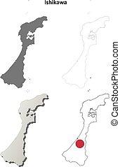Ishikawa blank outline map set - Ishikawa prefecture blank...