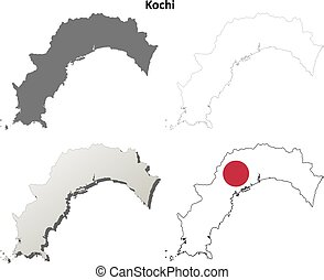 Kochi blank outline map set - Kochi prefecture blank...