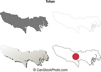 Tokyo blank outline map set - Tokyo prefecture blank...