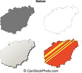Hainan blank outline map set - Hainan province blank...