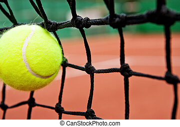 Failure defeat concept - tennis ball in the net - Failure or...