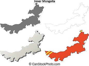mapa, Conjunto, contorno,  mongolia, interior, blanco