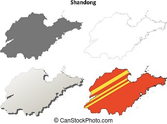 Shandong blank outline map set - Shandong province blank...