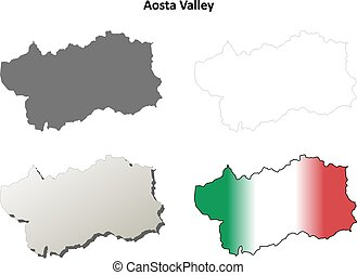 Aosta Valley blank outline map set