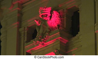Madrid at night - Ornamental decoration on antique building...