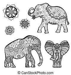 elephant - Set of Vector drawing of a elephant with ethnic...