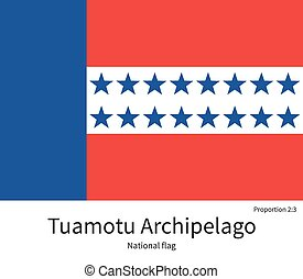 National flag of Tuamotu Archipelago with correct...