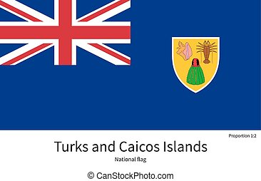 National flag of Turks and Caicos Islands with correct...