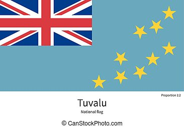 National flag of Tuvalu with correct proportions, element,...