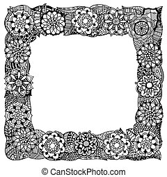 Abstract frame - Decorative nature frame of Monochrome...