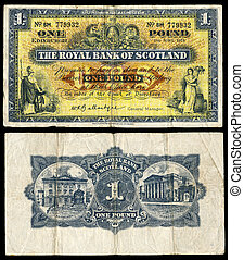 Old Scottish bank note - High resolution scan of an old...