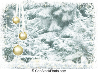 Christmas baubles snow forest - Christmas baubles hanging...
