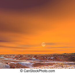 Petrified Forest Arizona - Sunset scenic landscape of...