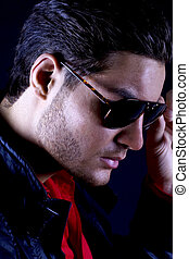 Cool male model with sunglasses - Handsome male model with...
