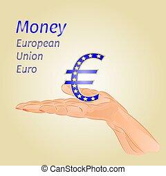 Money- Euro European Union on palm vectoreps - Money-Euro...