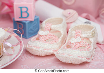 Baby booties - Baby shower for a baby girl