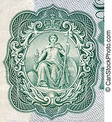 Britannia as depicted on an old English bank note - High...