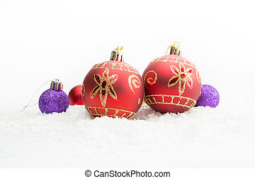 Christmas Decoration Bells with Balls in the Snow on the...
