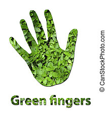 Green fingers - A handprint made up of green leaves to...