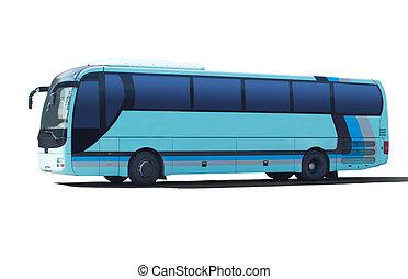 tourist bus on white