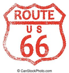 Route 66 Stamp - Route 66 red rubber stamp traffic sign over...
