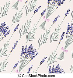 Lavender bouquets seamless - Bouquets and branches of...