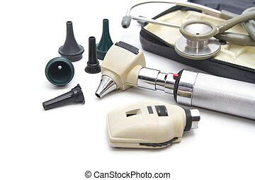 Otoscope and Opthalmoscope set for ear eye examination