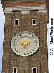 VENICE, ITALY - SEPTEMBER 02, 2012: Clock on the campanile...