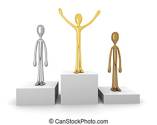 Winners podium - 3D Illustration. Gold, Silver and bronze...