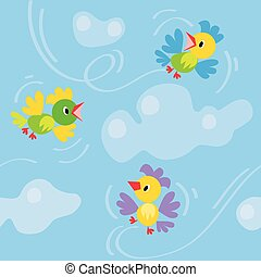 Seamless pattern with funny birds - Seamless pattern with...