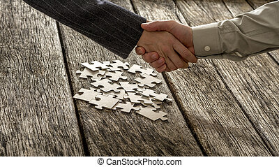 Closeup of male and female business partners shaking hands...