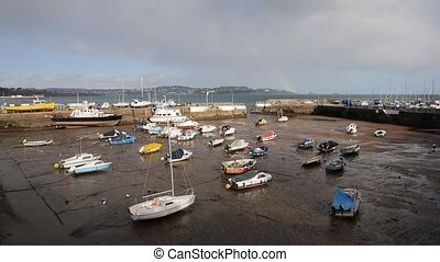 Boats low tide Paignton harbour - Paignton harbour Devon...