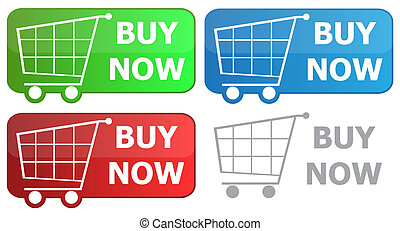 Button grocery cart with the signature buy now