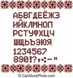 Russian alphabet on white and red national ethnic ornament...
