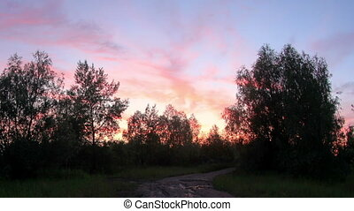 Sunset over the meadow. Krasny Yar, Lubinsky District, Omsk...