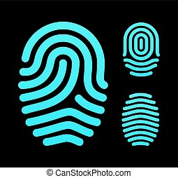 Fingerprint types, loop, whorl and arch. Vector...