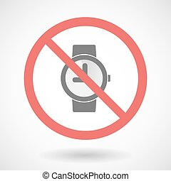 Forbidden vector signal with a wrist watch - Illustration of...